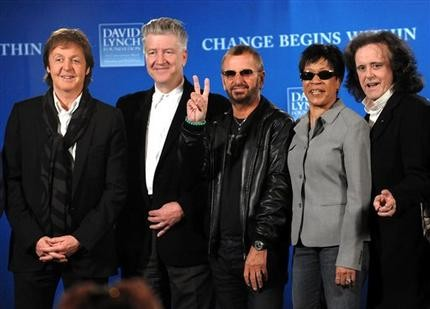 "Participants, from left, Paul McCartney, David Lynch, Ringo Starr, Bettye Lavette and Donovan attend a news conference to promote the ""Change Begins Within"" benefit concert for the David Lynch Foundation and to support an initiative to teach one million at-risk youth to meditate, Friday, April 3, 2009, in New York. (AP Photo/Evan Agostini)"